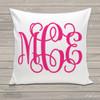 Girls monogram custom throw pillow with pillowcase