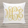 Girls monogram custom throw pillow with pillowcase