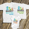 Biggest big and little brother or sister dinosaur three sibling Tshirt set