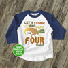 Birthday dinosaur geometric dino any age boy or girl personalized raglan shirt