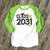 Student class of (any year) graduation youth adult raglan shirt