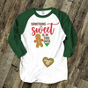 Mommy Christmas something sweet is in this oven unisex adult raglan shirt