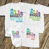 Personalized brother or sister dinosaur matching set of four sibling Tshirts