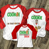 Christmas cookie in oven pregnancy announcement daddy mommy kiddo THREE raglan shirt set