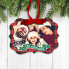 Christmas December 25th family photo plaid personalized holiday ornament