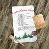 Christmas barn fir trees handwritten keepsake recipe tea towel