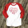 Happy Valentine's Day heart gradient or plaid text unisex adult raglan shirt