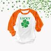 St. Patrick's Day lucky shamrock unisex adult raglan shirt
