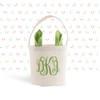 Easter basket pink, blue or green bunny ears monogram easter bunny bag