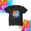 Hello kindergarten or any grade back to school paint splatter student DARK Tshirt