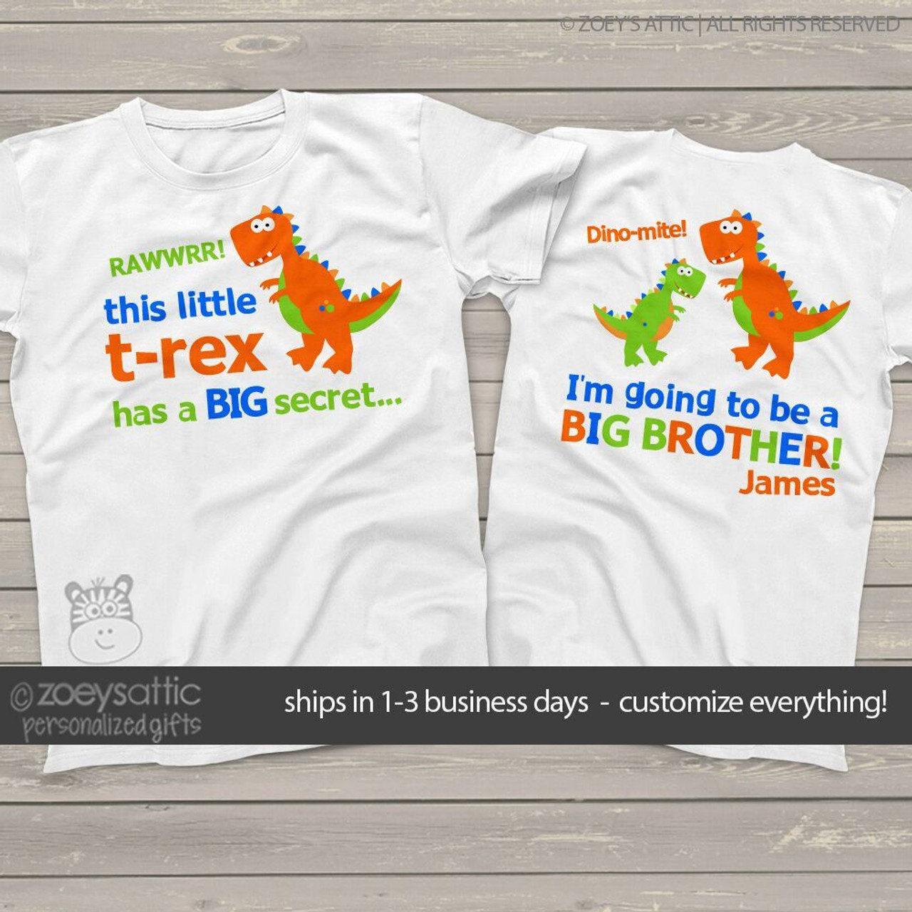 I have a Big Secret I/'m going to be a big brother dinosaur kids t-shirt