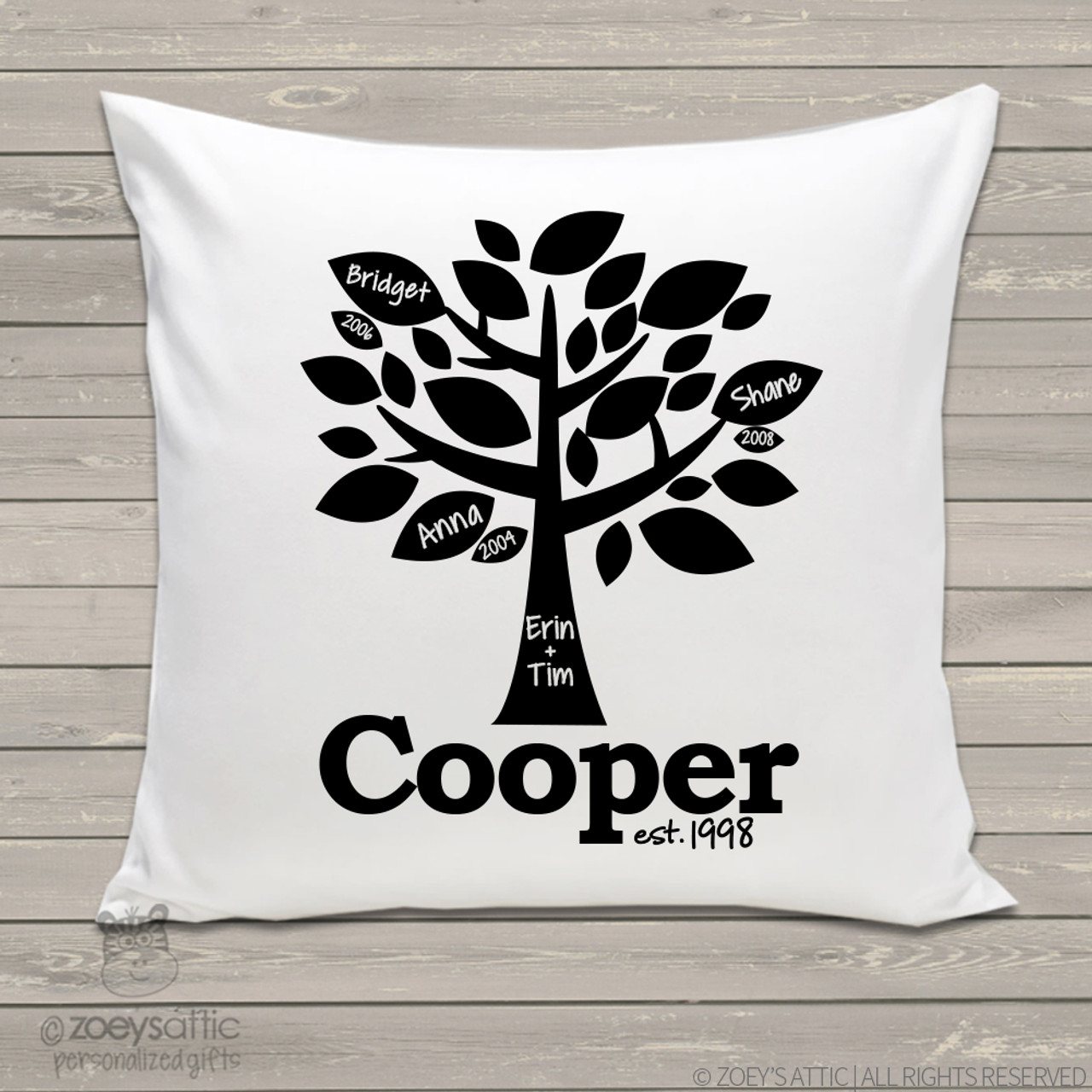 personalized throw pillow family tree custom pillowcase with or without insert  sc 1 st  Zoeyu0027s Attic & personalized throw pillow family tree custom pillowcase with or ...