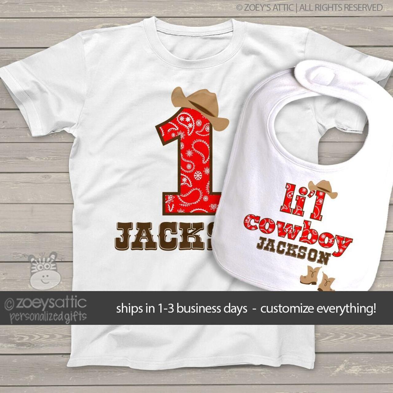 4aaf4f914c6 First birthday shirt cowboy or cowgirl buckaroo personalized Tshirt or  bodysuit and bib matching set