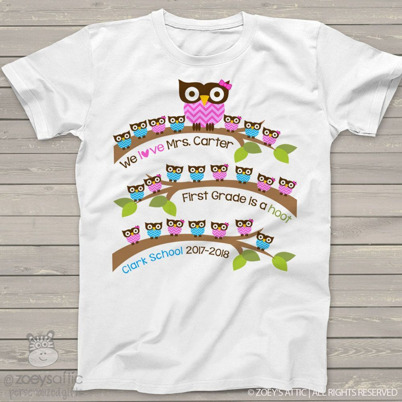 814223d723073 Teacher shirt gift from students school hoot owl personalized Tshirt