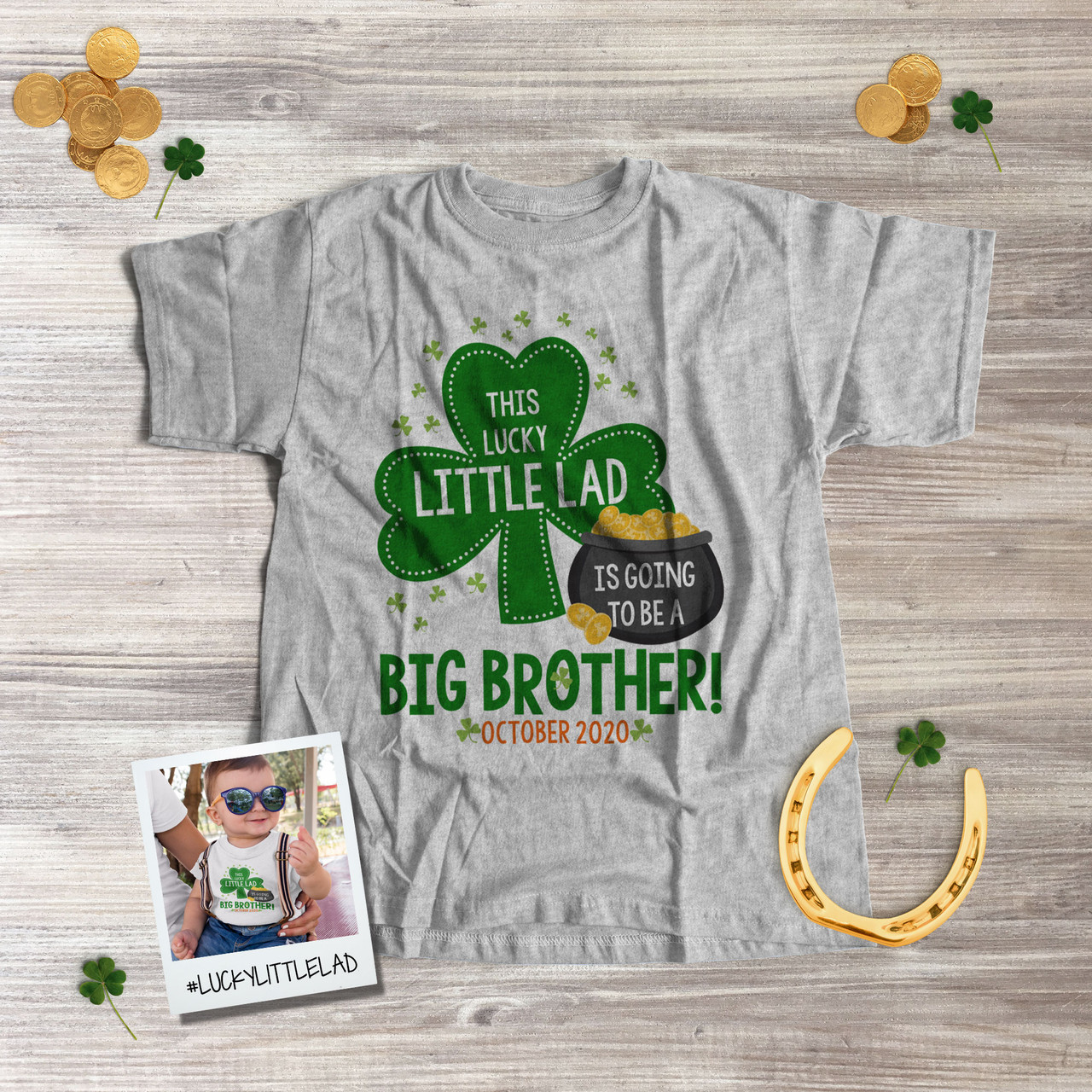 Lucky to be a Big Brother Pregnancy Announcement Gift Patrick/'s Day Shirt Boys Big Brother St