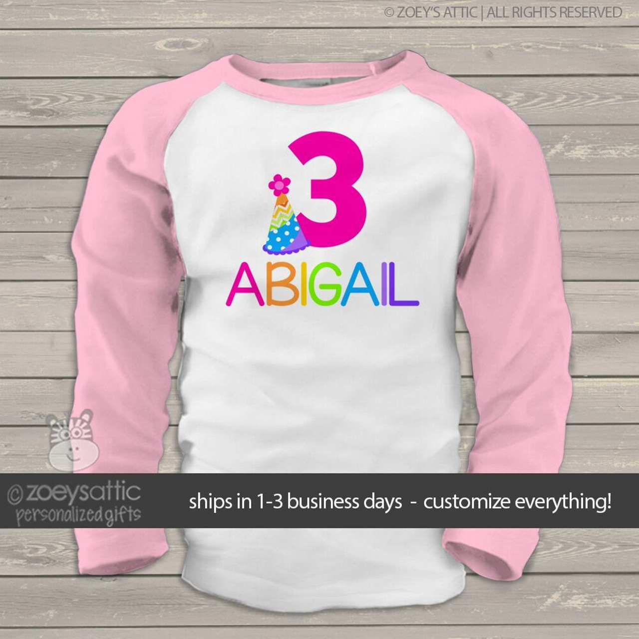 Girls Birthday Shirt Party Hat Rainbow Girl Raglan
