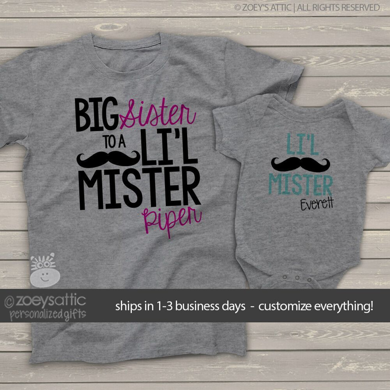 Big Sister t shirt lil mister t shirt t shirt set girl boy baby t shirt