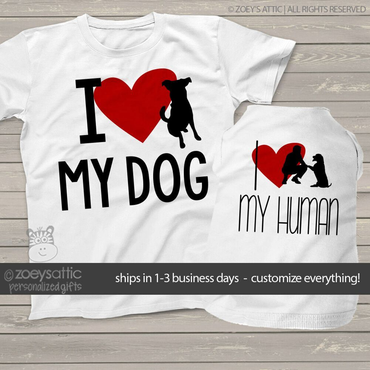 Custom Unisex Shirt Dog Shirts Love My Human And Love My Dog