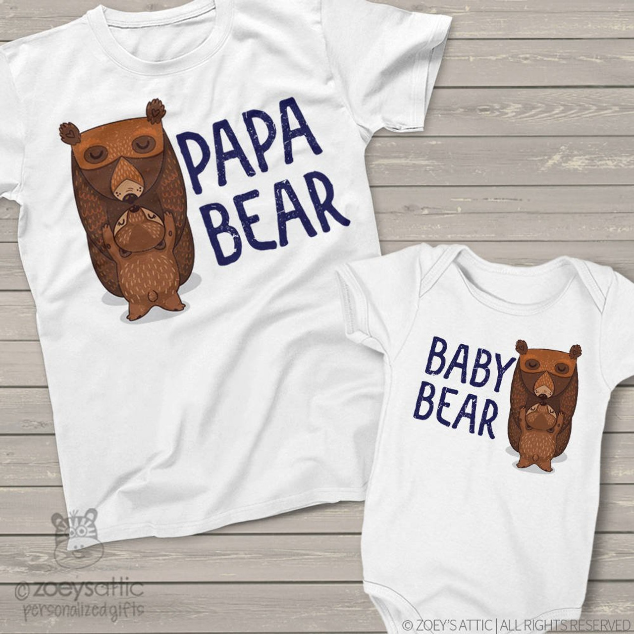 1516f35b0 personalized mens shirt, papa and baby bear matching t-shirt gift set