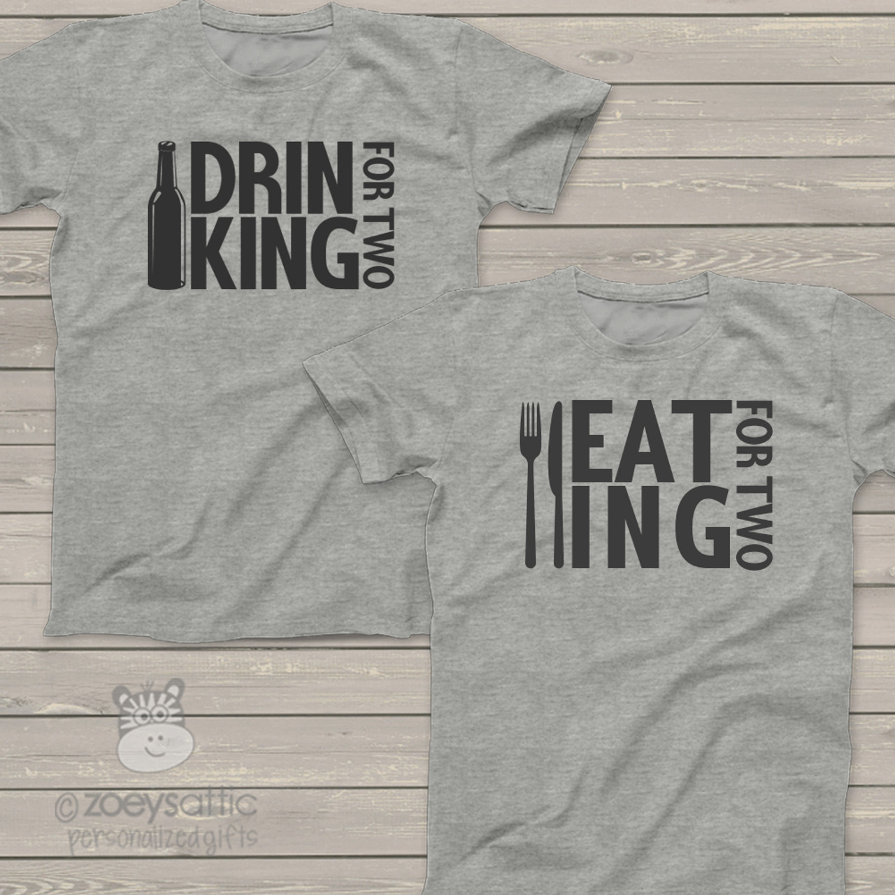 830e3798 personalized mens shirt, eat drink for two daddy and mommy, pregnancy  announcement t-shirt set