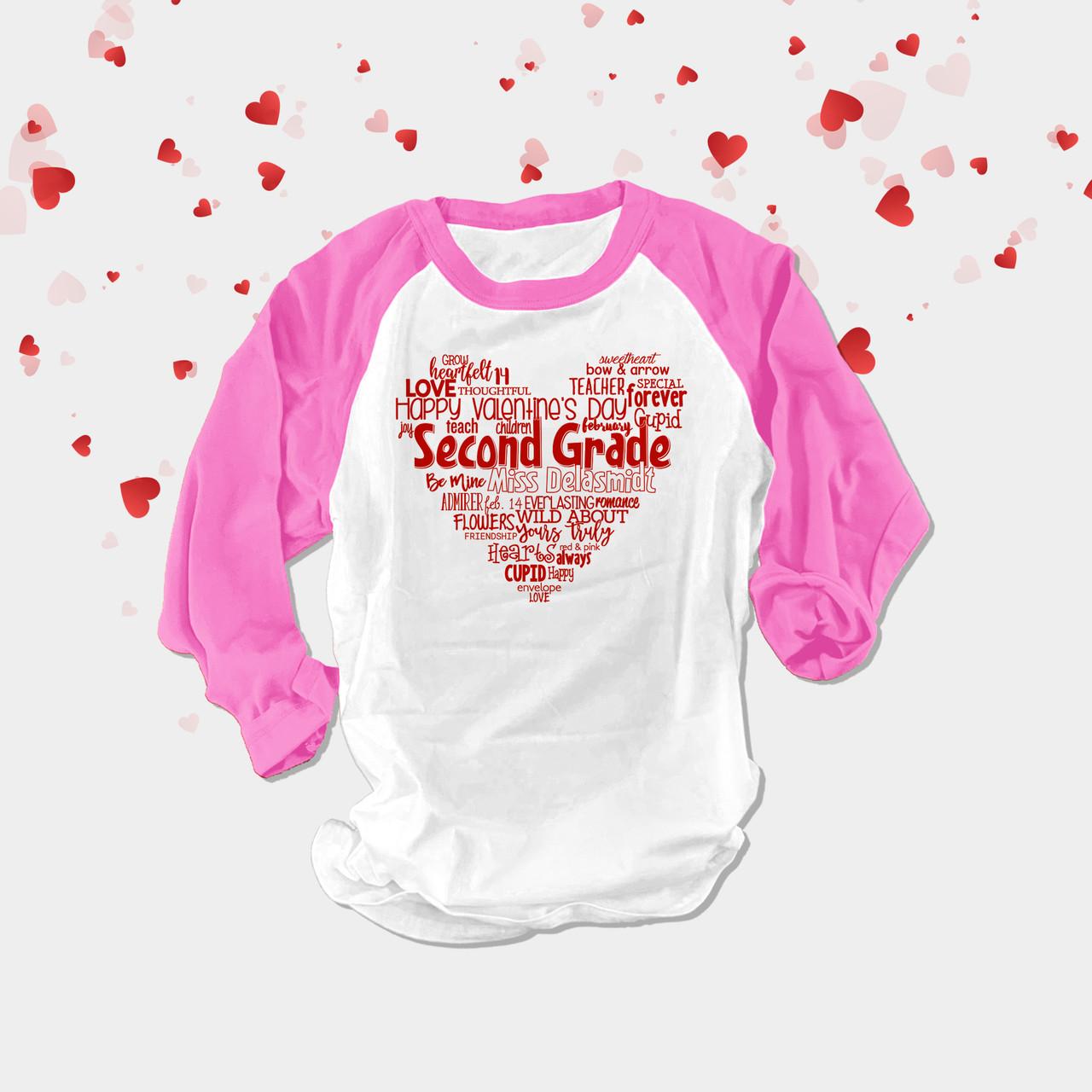 Kids Childrens Top Personalised Name /& Heart Girls Birthday Long Sleeve Shirt