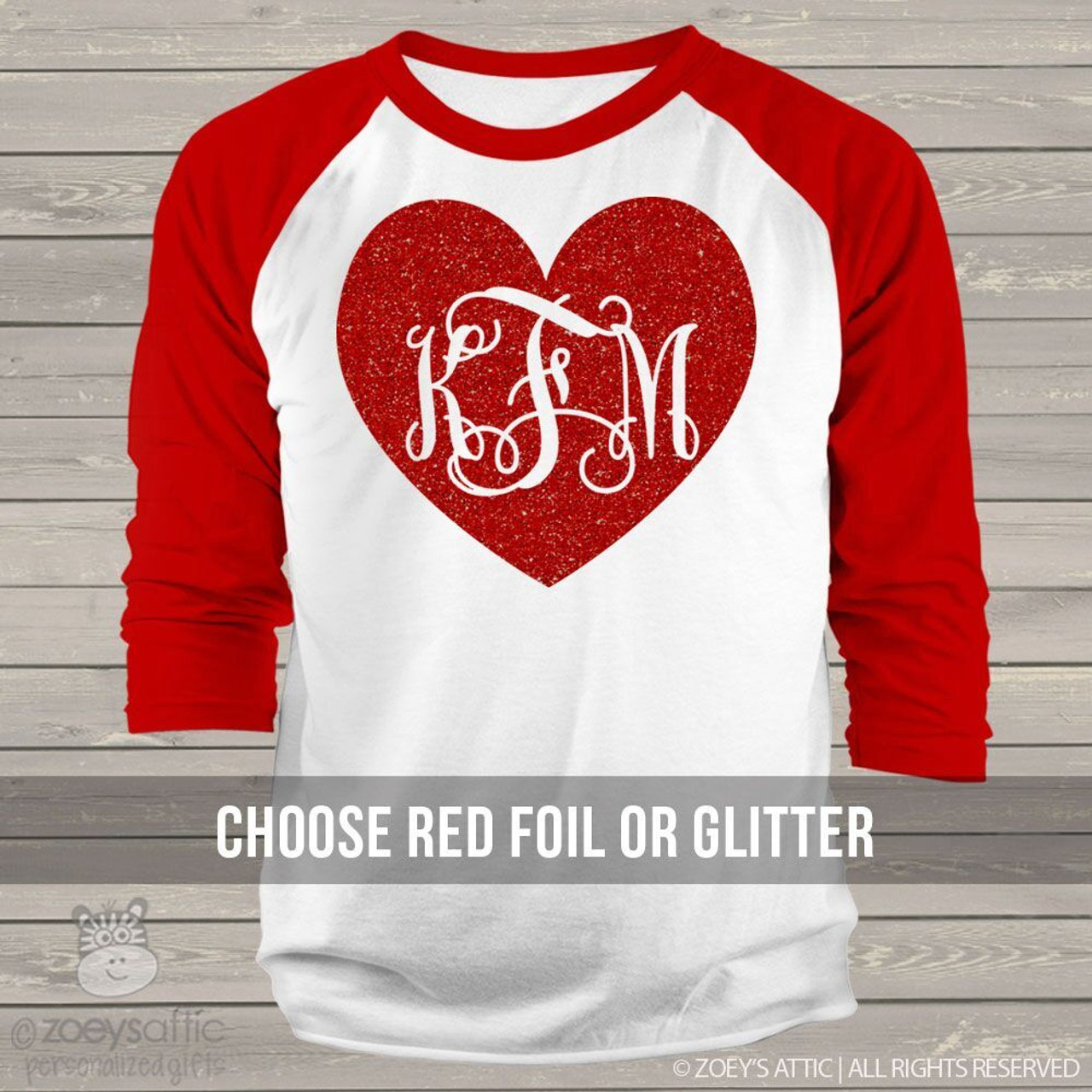 cfaa3cdac04f4 Valentine glitter heart monogram ADULT raglan shirt