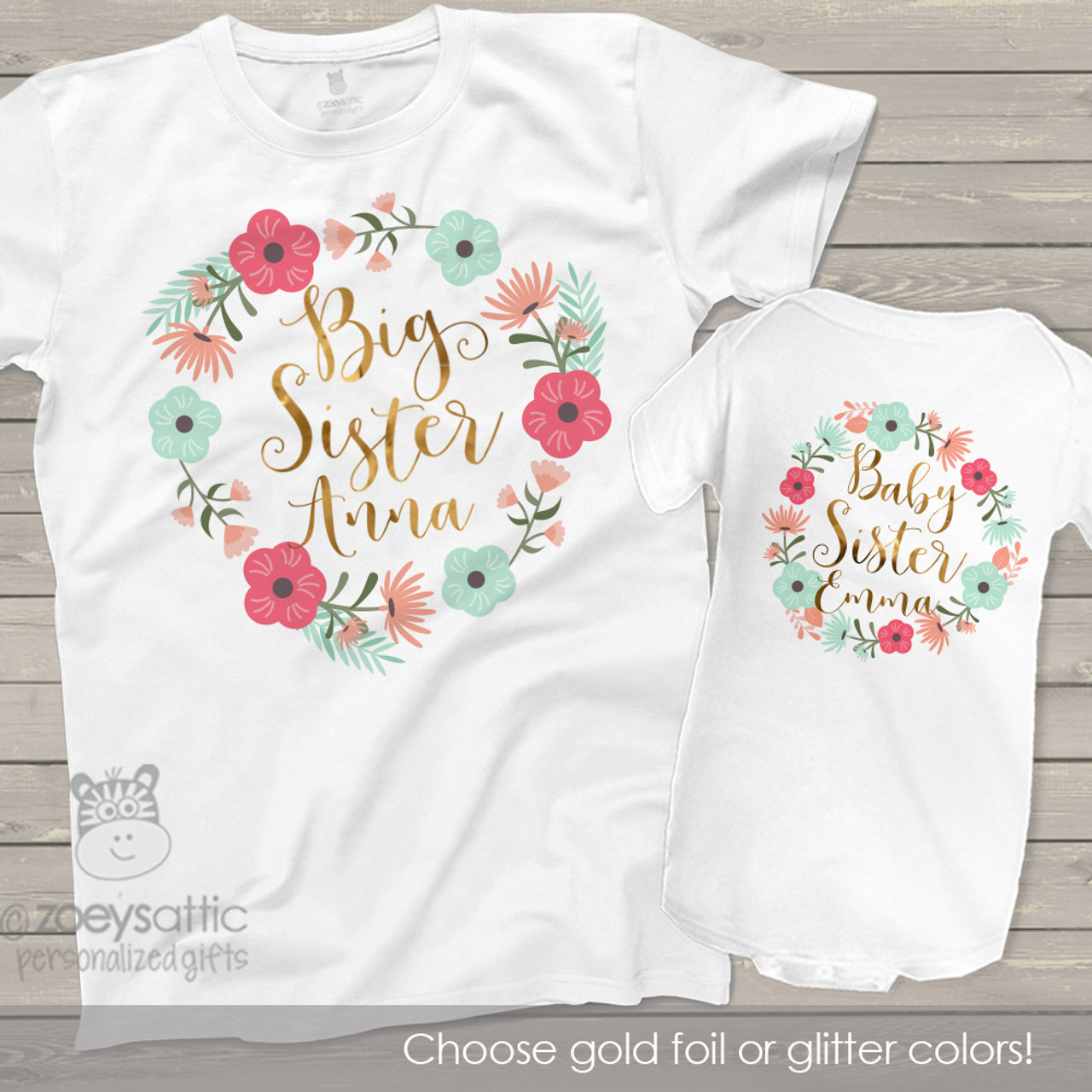 Printed Baby Toddler Matching Girls Floral Big /& Little Sister Wreath T-Shirts