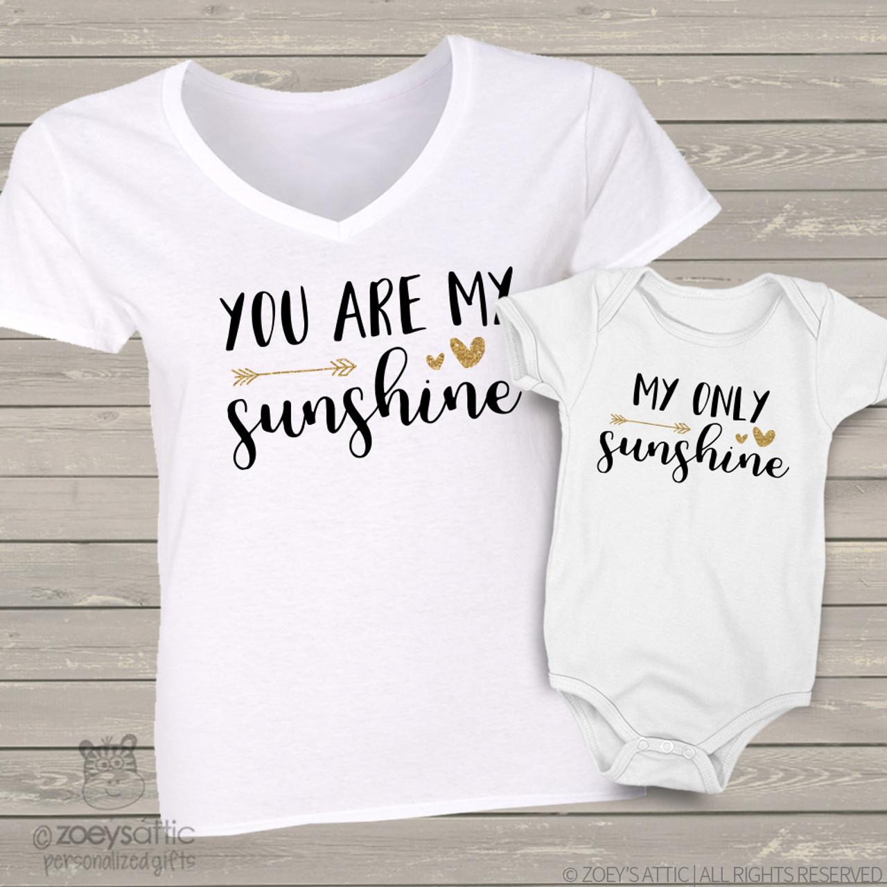 08467d63a1d345 custom mom baby shirts, sunshine glitter two shirt gift set