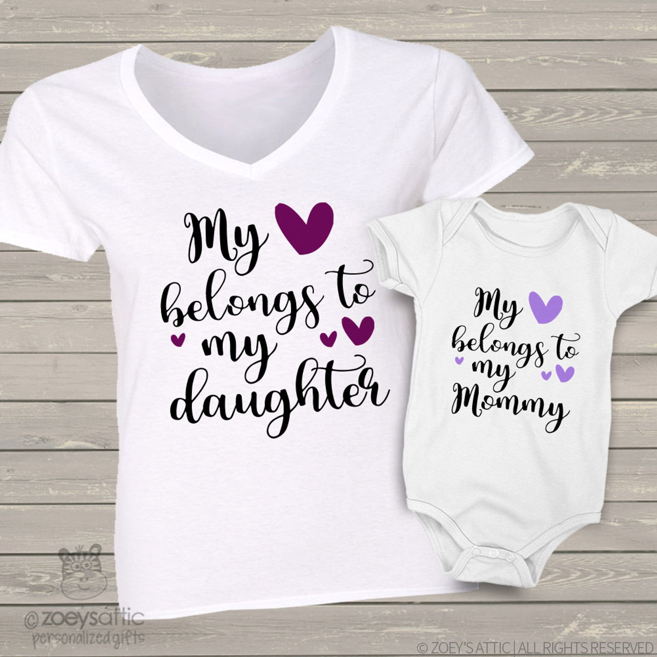 7a0349dc custom mom daughter shirts, heart belongs two shirt gift set