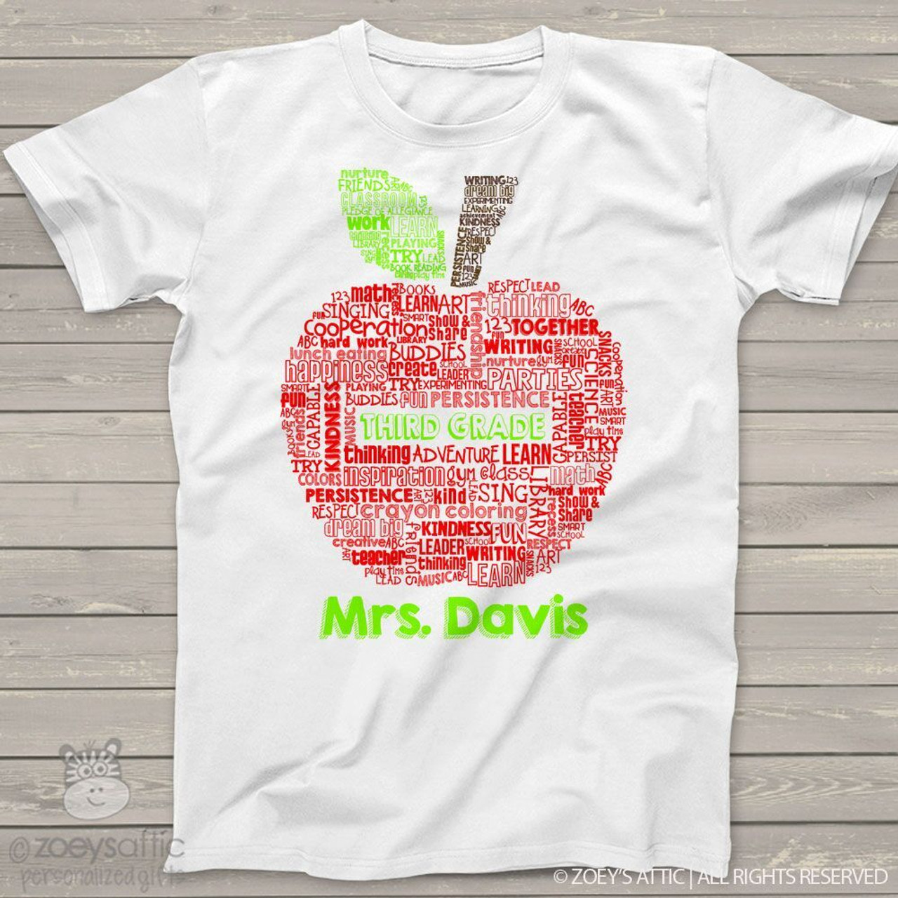 eacb146b62a7c Teacher apple word collage personalized Tshirt