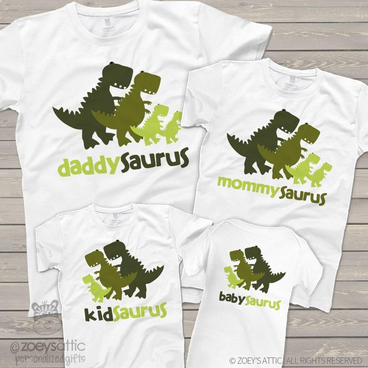 f55205211 custom dinosaur themed shirts, four saurus shirts daddy mommy kid baby