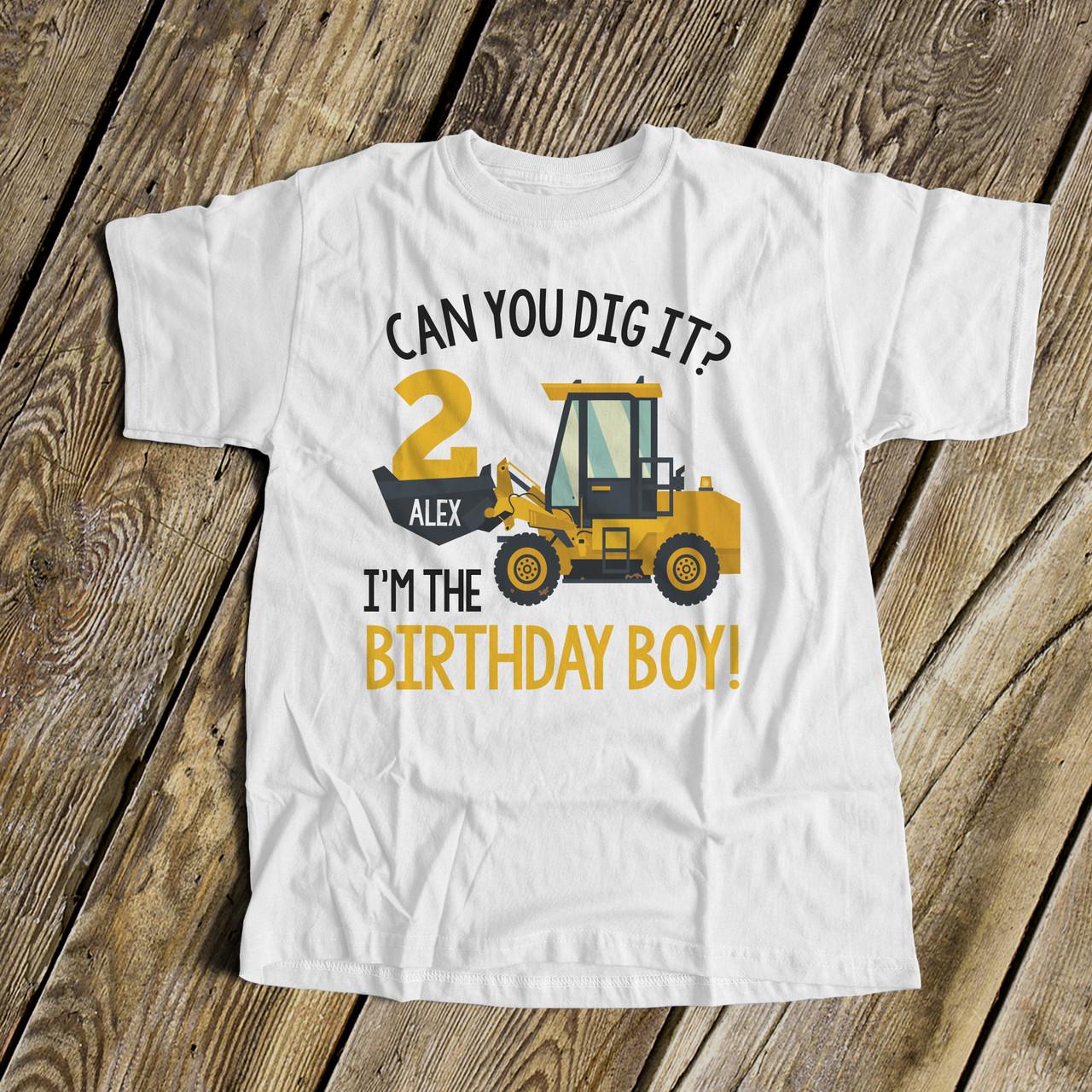 Personalised digger t shirt tshirt top girls boys birthday any name age dig