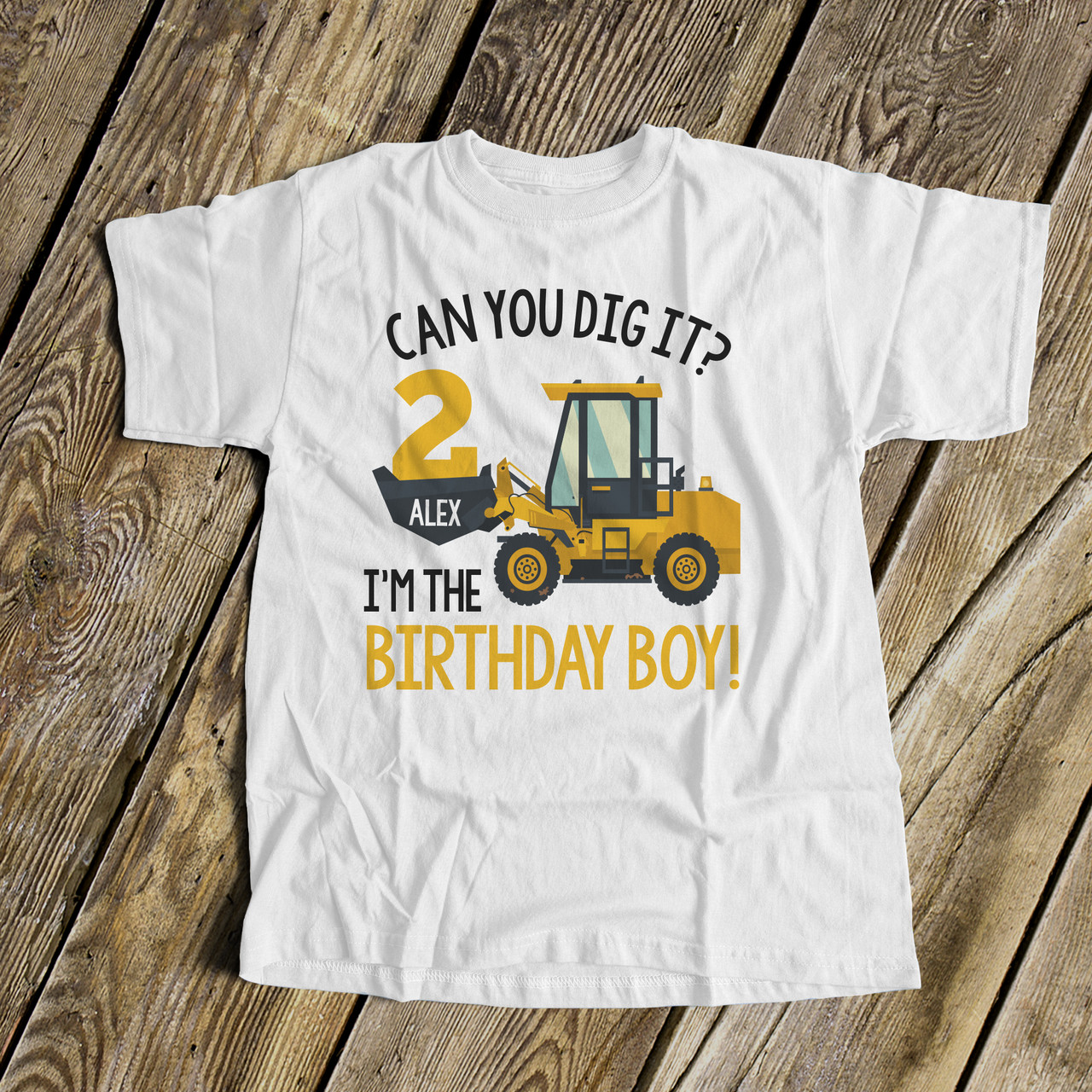 PERSONALISED KIDS DIGGER T-SHIRT AGE BIRTHDAY GIFT BUILDER BOYS ANY NAME