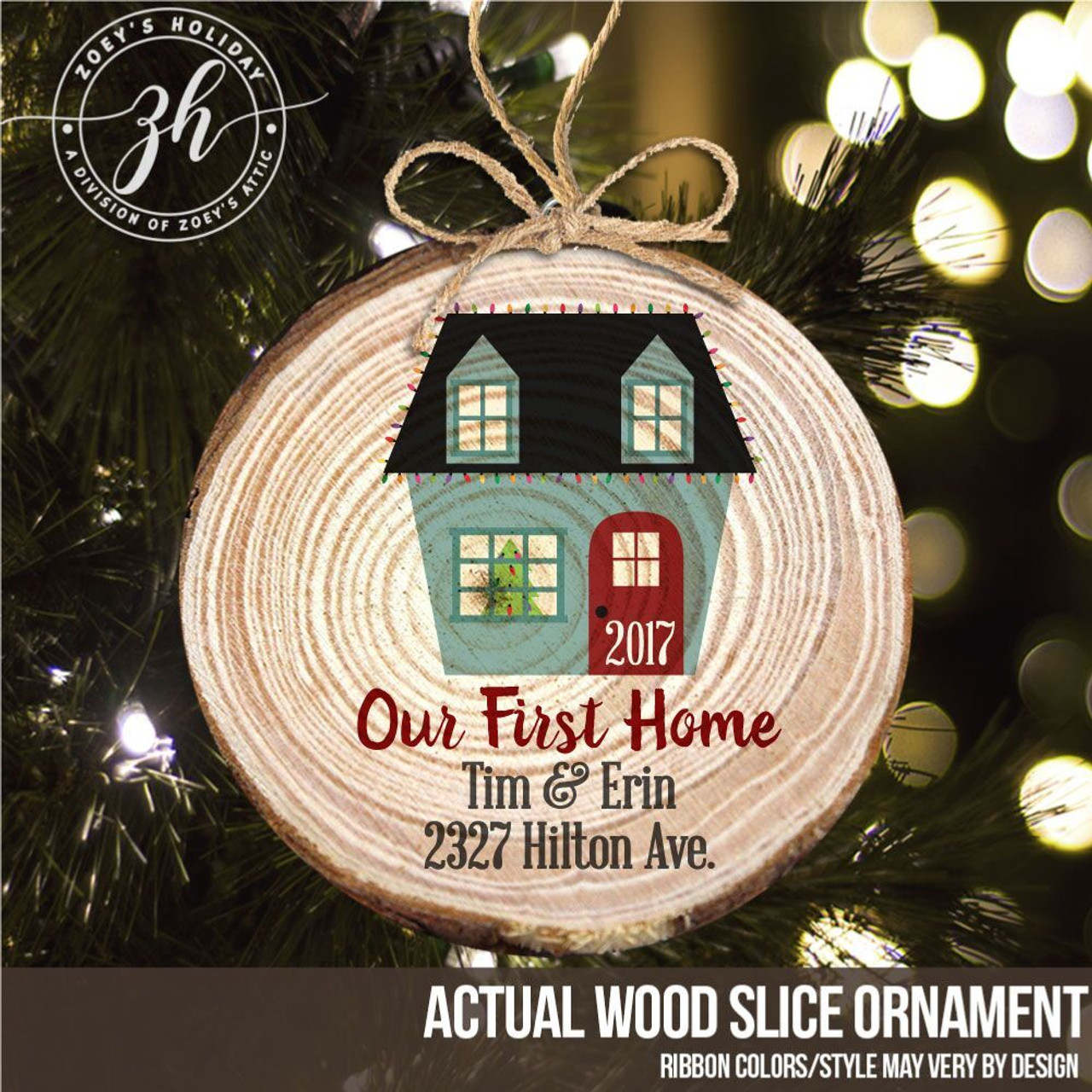 Our First Home Christmas Ornament.First Home Wood Slice Christmas Ornament