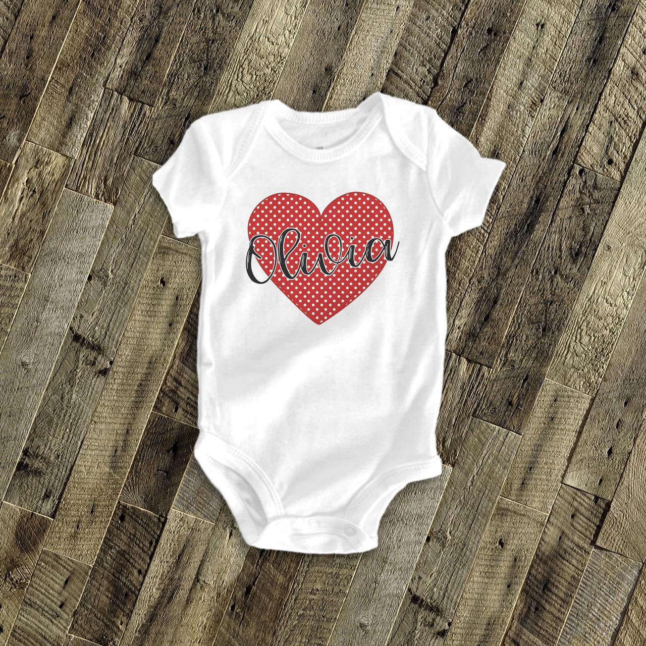 Heart Personalized Valentine Baby Onesie