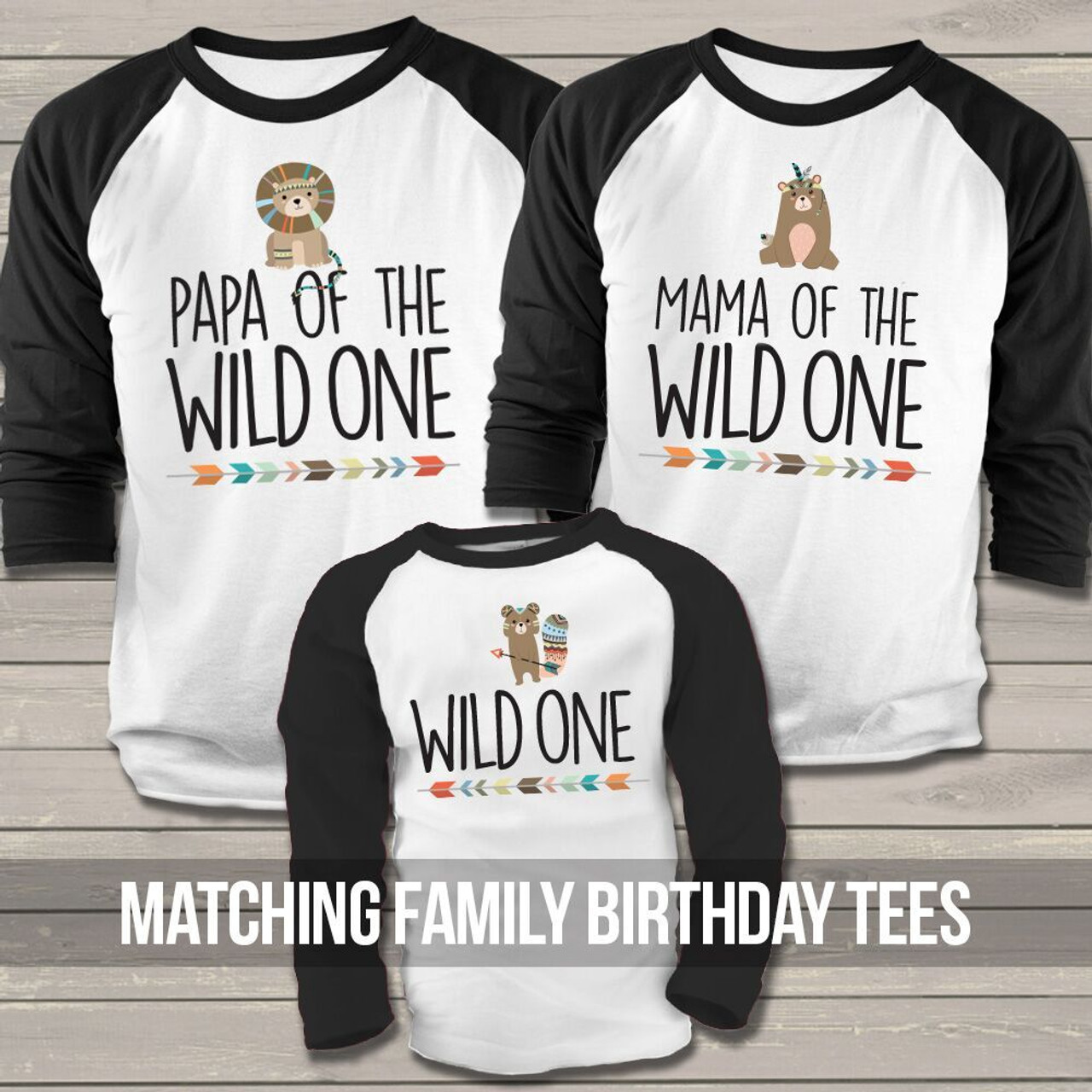 Birthday Party Raglan Shirt Set Papa Mama Baby Wild One Three Shirts