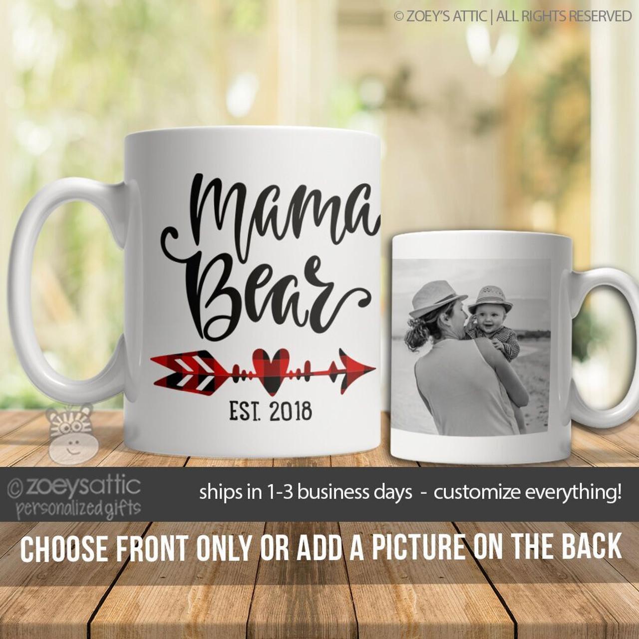 11d4aef185 mothers day mug, mama bear year established photo coffee mug