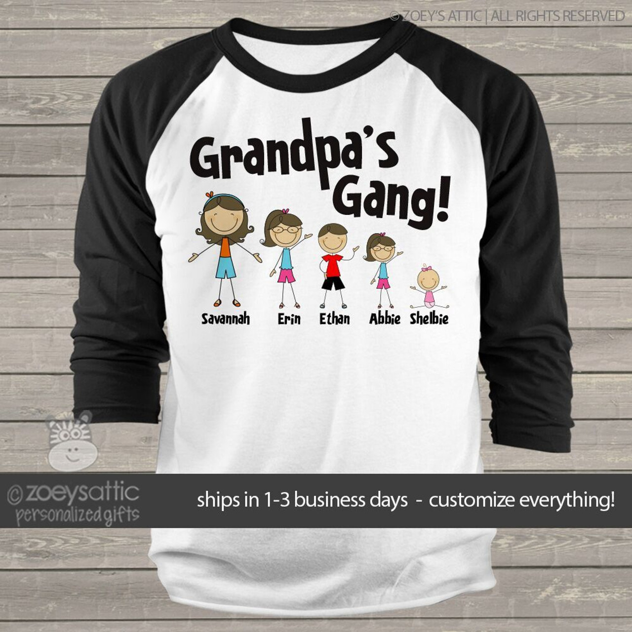 3a227474 grandpa shirt, personalized stick figure grandpa gang raglan