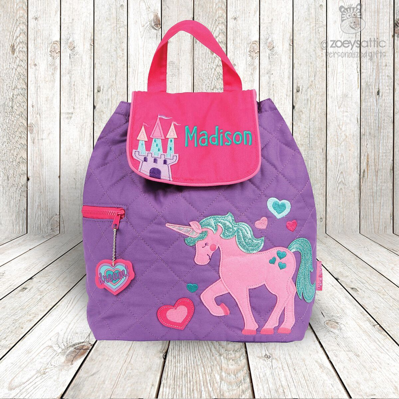 Personalised Kids Backpack Pink Name Rucksack School Bag Embroidered Unicorn