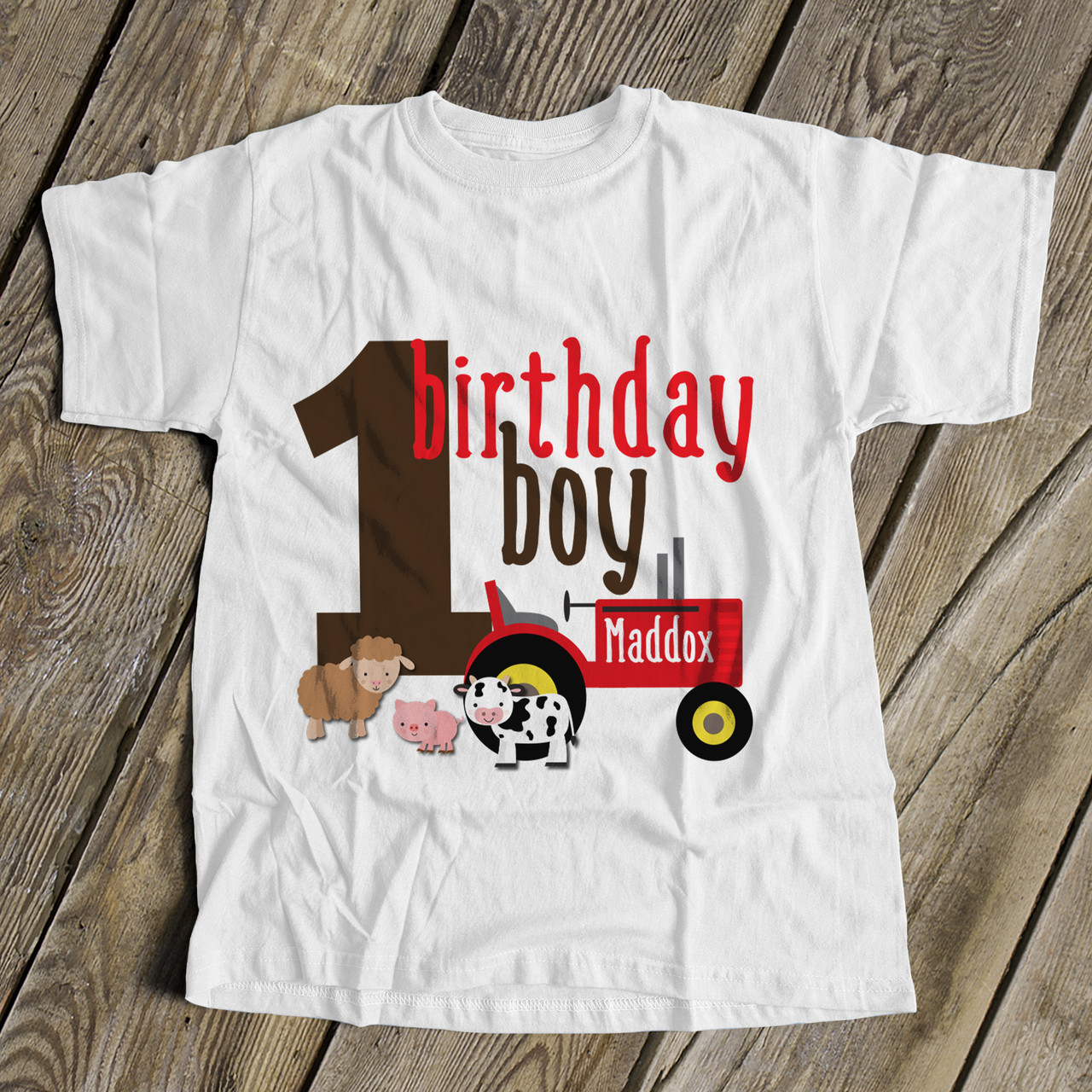 1st Birthday Shirt Boy.First Birthday Shirt Boy Any Age Farm Red Tractor Personalized Tshirt