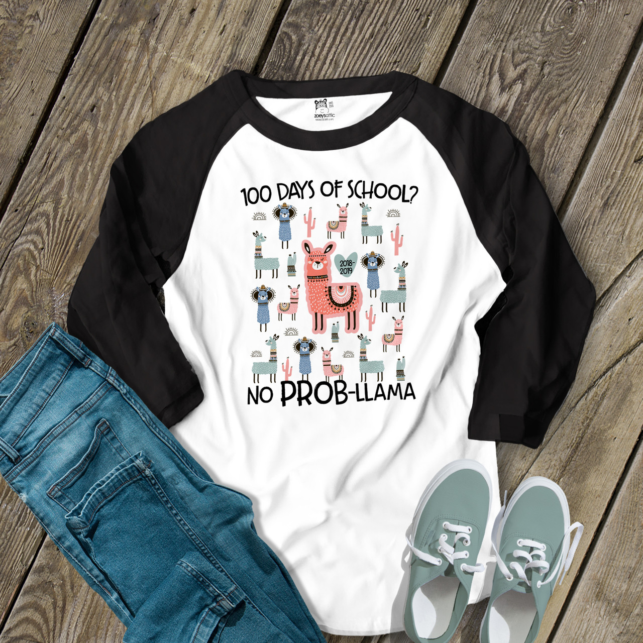 60b770e9b teacher shirt, llama no problem 100 days adult raglan shirt
