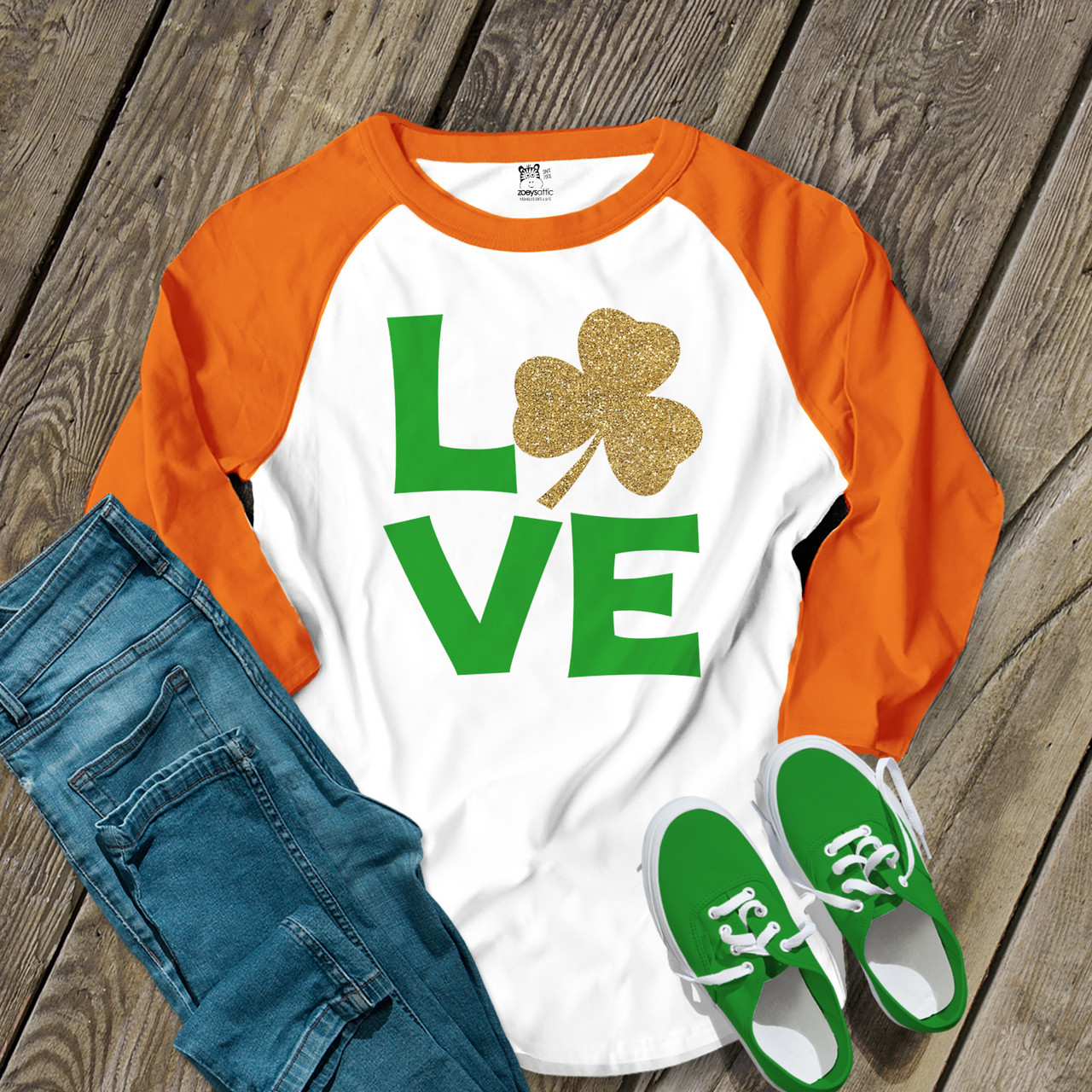 5a78d3d75 st patricks day shirt, glitter foil shamrock love unisex adult raglan shirt
