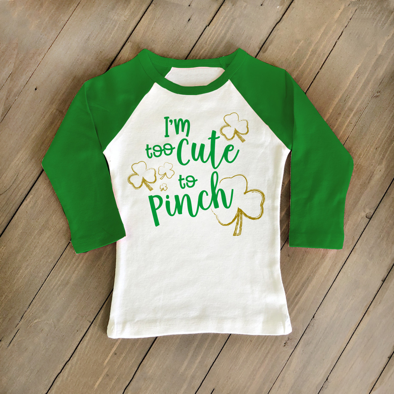 a064767b1 kids st patrick shirt, shamrock too cute to pinch raglan shirt