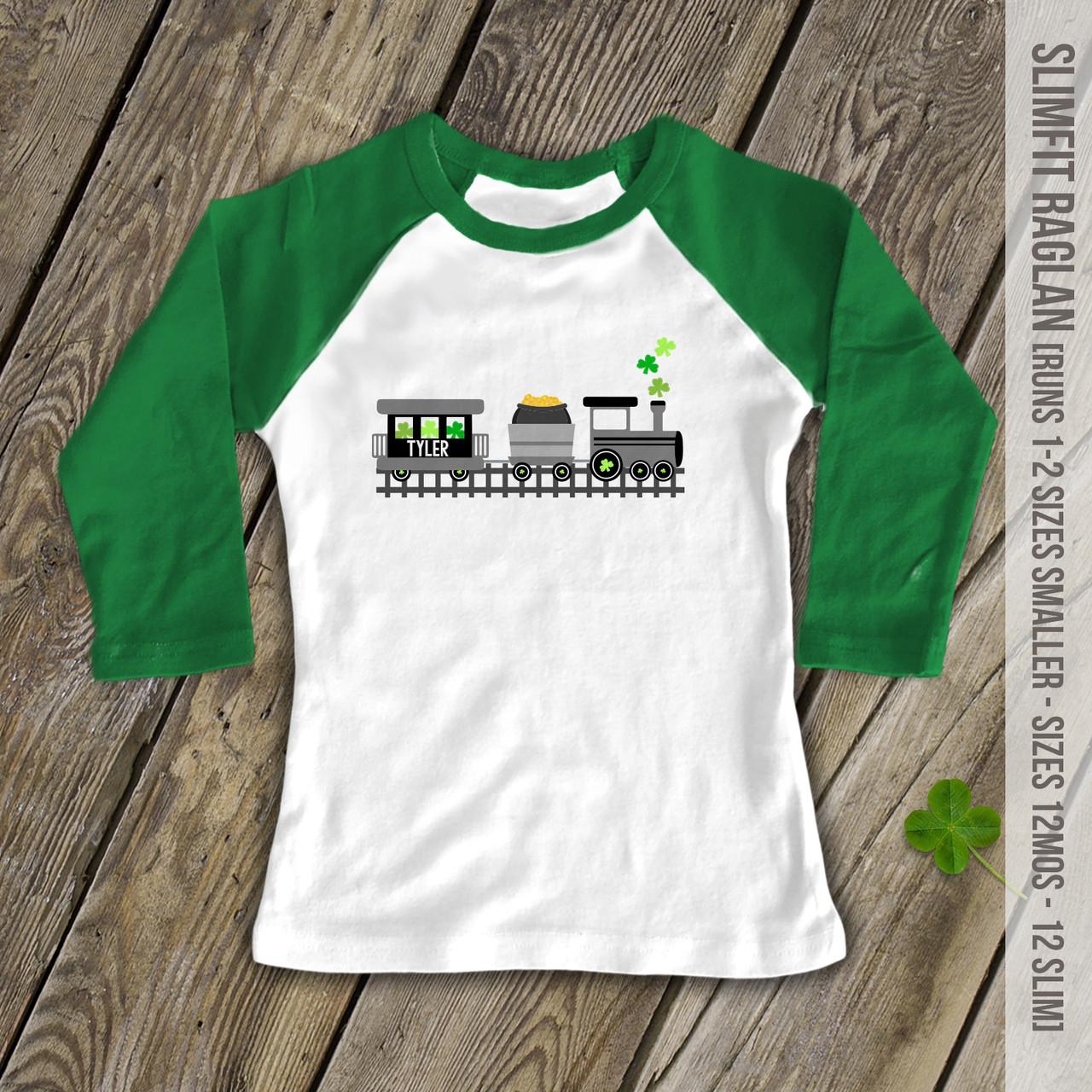 0503038e1 St. Patricks Day shamrock train personalized childrens raglan shirt