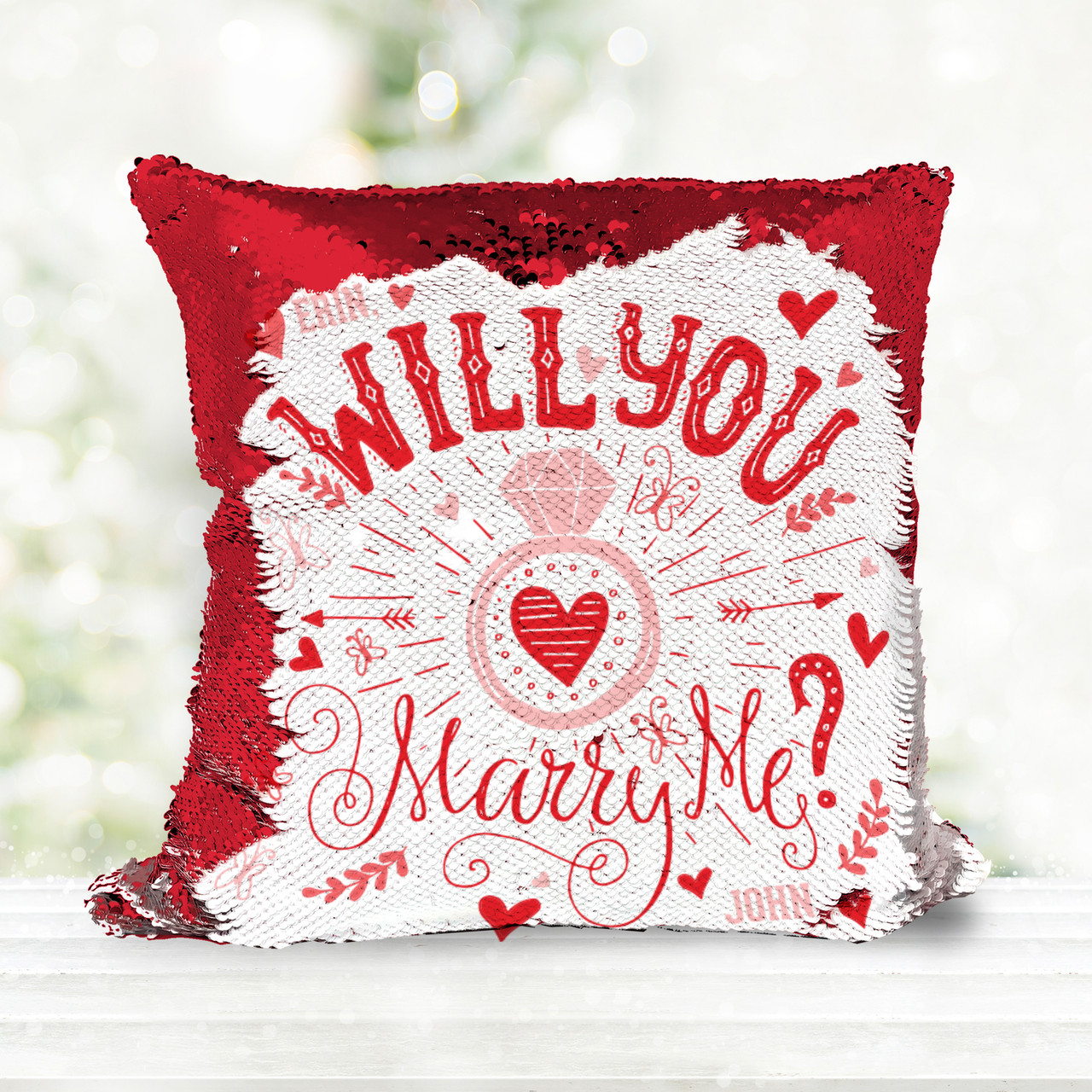 Wedding Proposal Pillow Gift Sequin Bride Or Groom Will You Marry Me Pillowcase