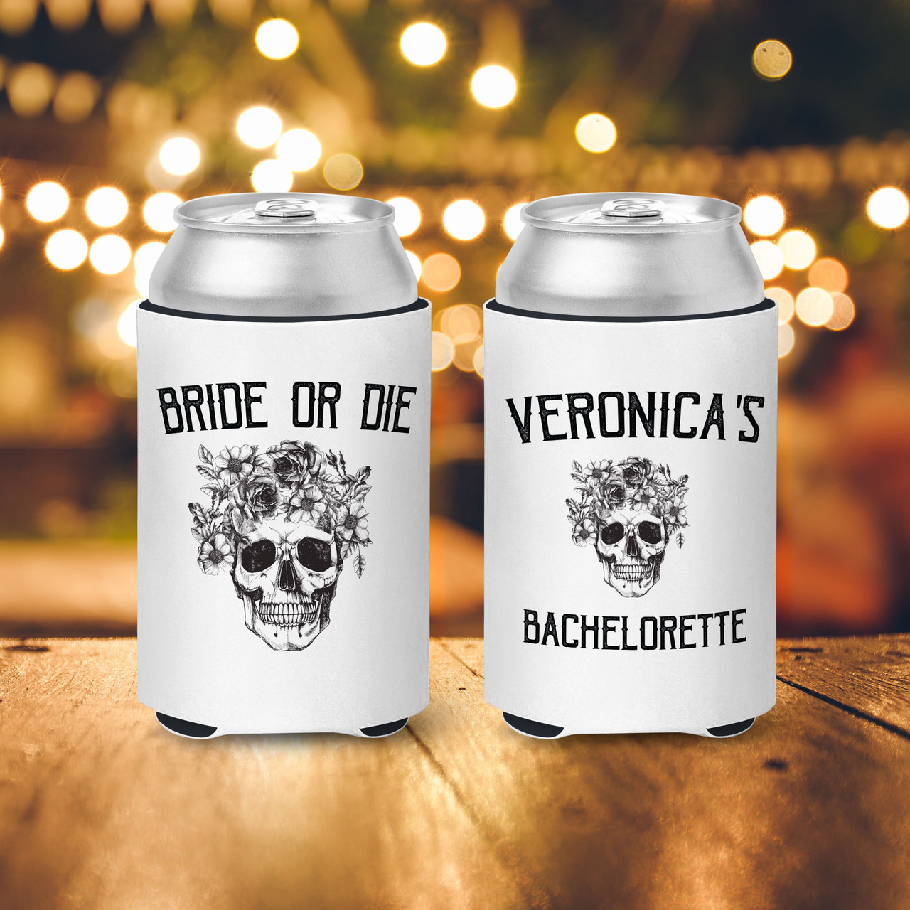 Bachelorette party can coolies bride and guests bride or die till death do we party beverage insulators slim or regular can size mcc-110