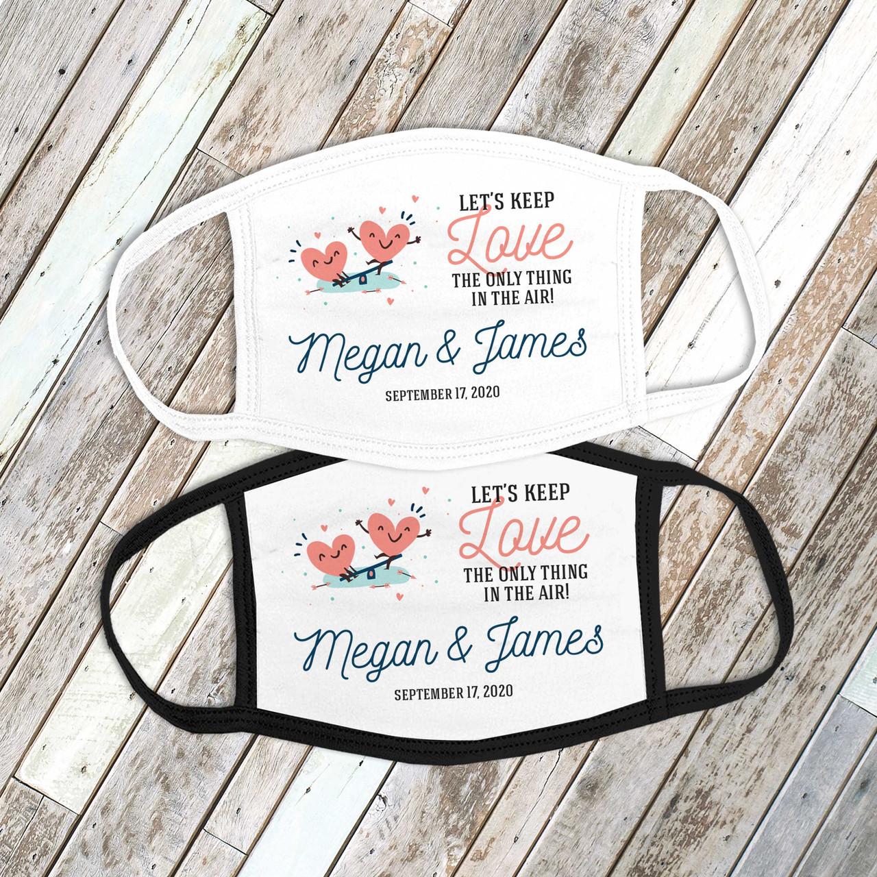 Wedding Face Mask Love In Air Wedding Party Favor Adult Guest Personalized Face Mask