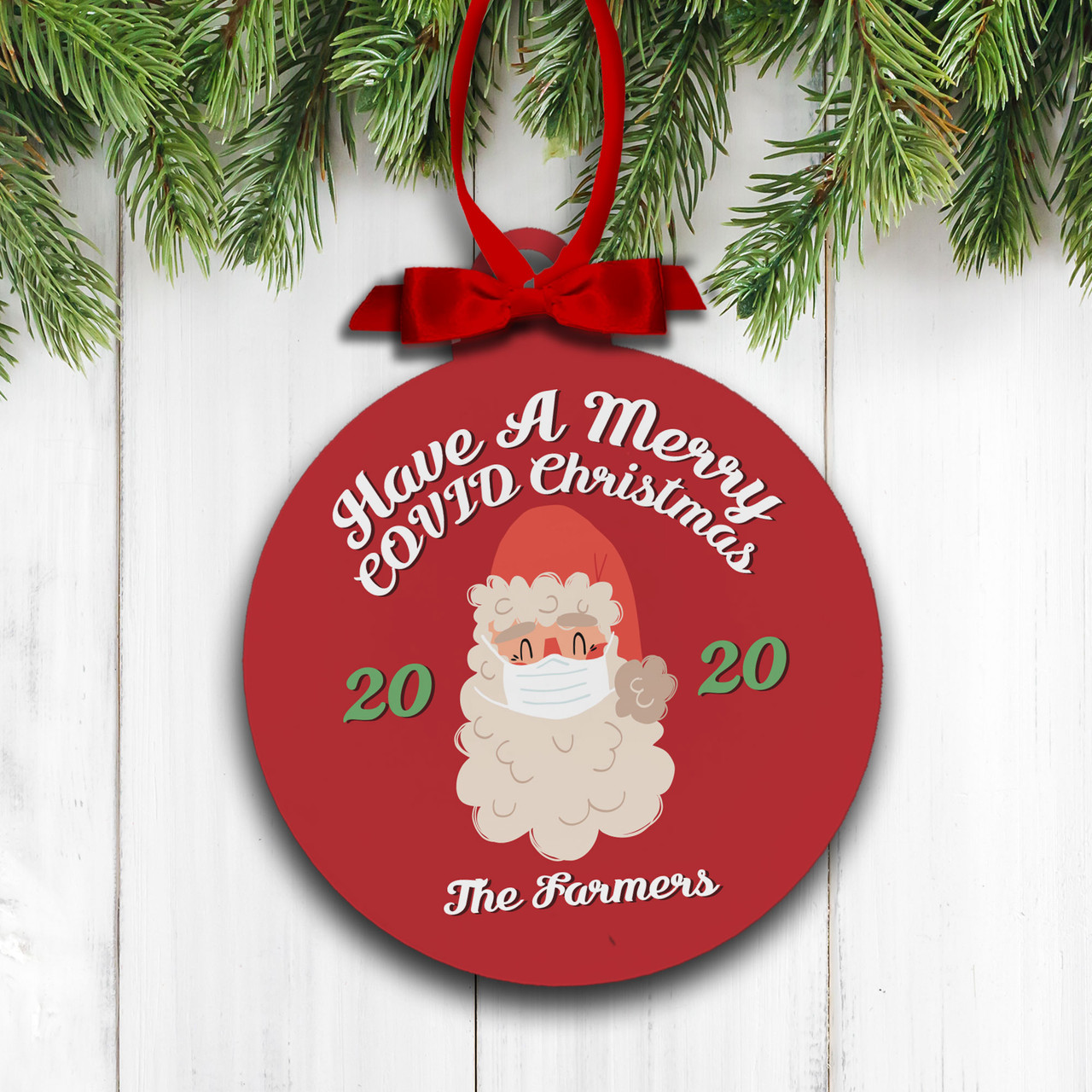 christmas 2020 ornament masked santa covid christmas holiday ornament merry covid christmas 2020 holiday ornament