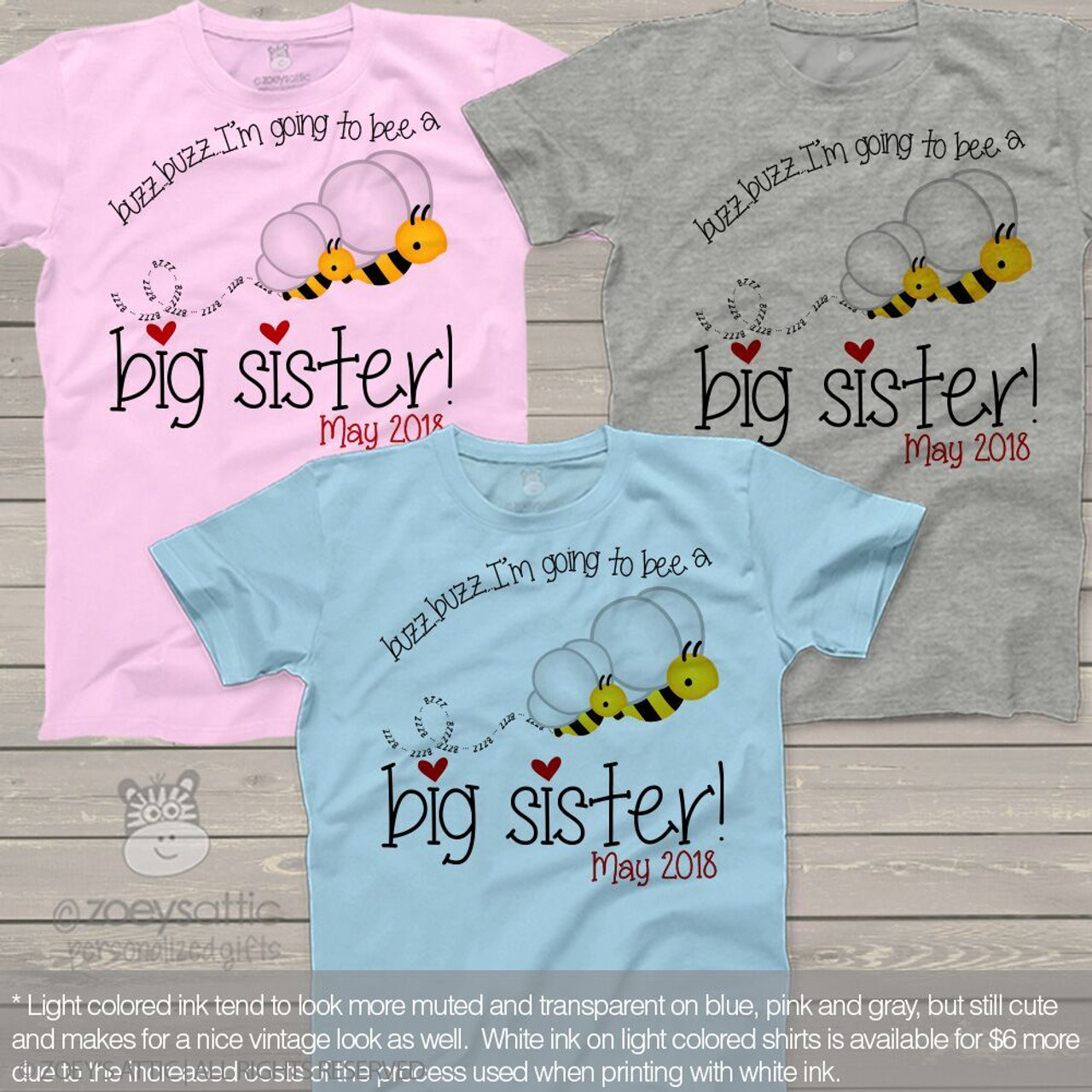 I/'M GOING TO BE A BIG SISTER PERSONALISED PERSONALIZED GIRLS FIT T-SHIRT TSHIRT