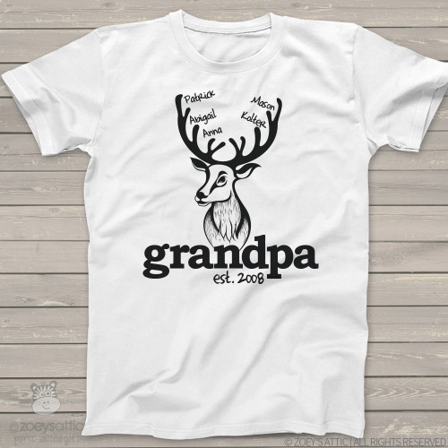 9029e5db Grandpa shirt deer hunter grandpa established deer head personalized Tshirt